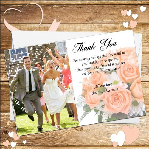 10 Personalised Wedding Thank you Photo cards N5